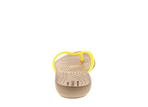 crocs Damen Isabella Sandalen Flipflops, Schwarz Lemon/Gold