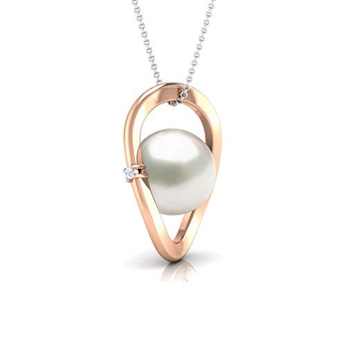 Or Rose 18K 0,01carat au total Round-cut-diamond (IJ   SI) et de chinois Perles d'eau douce Pendentif