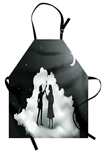 (Lunarable Neverland Apron, Peter Pan Story Pan and Wendy Standing on Clouds Fairy Moon Night Kids Dream, Unisex Kitchen Bib Apron with Adjustable Neck for Cooking Baking Gardening, Grey)