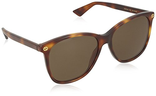 (Gucci 0024S 002 Havana 0024S Round Sunglasses Lens Category 3 Size 58mm)