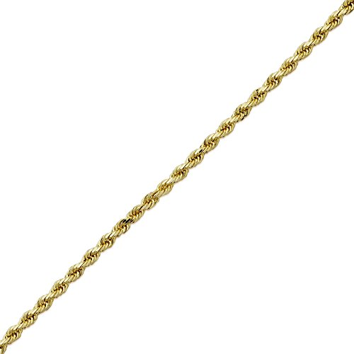 LoveBling 14K Yellow Gold 3mm 26'' Solid Diamond Cut Rope Chain Necklace with Lobster Lock by LOVEBLING (Image #3)