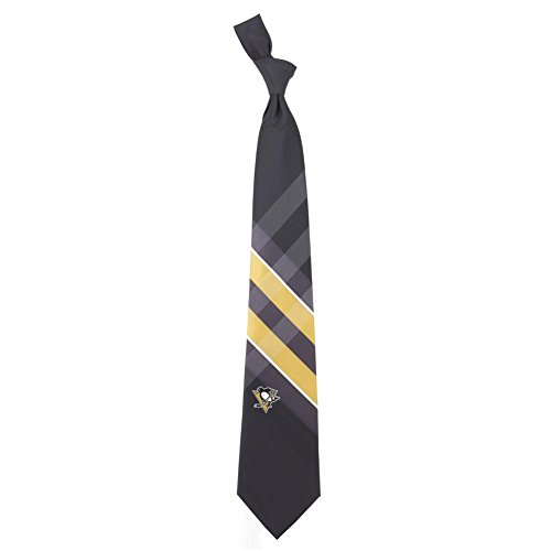 Pittsburgh Penguins Grid Neck Tie with NHL Hockey Team Logo ()