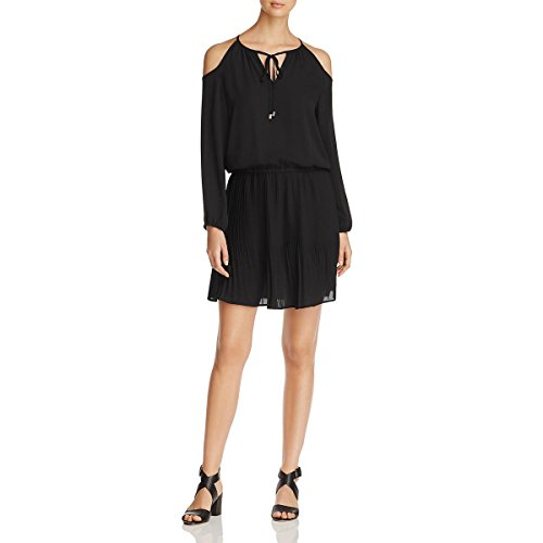 Alison Andrews Womens Pleated Cold Shoulder Cocktail Dress Black XS
