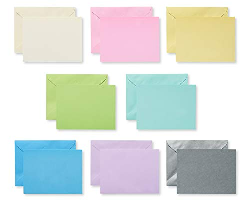 American Greetings Pastel Single Panel Blank Note Cards and Colored Envelopes, 100-Count