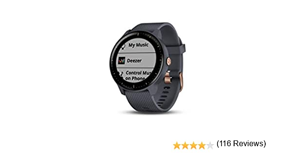 Garmin Smartwatch Vivoactive 3 Music GPS Mano Ciclismo Unisex Adulto, Azul (Rose Gold/Granite Blue Band), Talla única