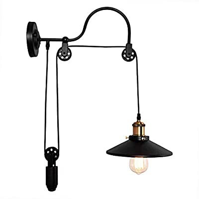 Bowrain 1 Light Fixture Industrial Wall Sconce Adjustable Gooseneck Mid Century Lift Pulley Wall Lamp Mounted Wheel Wall Lamp with Shade (Black Color)