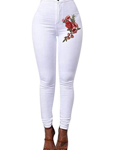 Jeggings Bianca Fiori Alta Donna Stampato Zengbang Scarni in Pantaloni Vita Jeans Denim Leggings Ricamati Elastico UAvnqw6