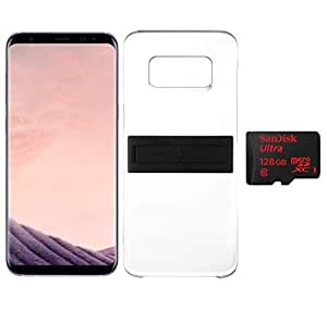 Samsung Galaxy S8+ Dual Sim - 64GB, 4G LTE, Orchid Gray with KickTOK Cover, Black