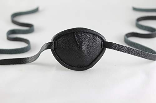 Leather Eyepatch. Slight Convex Eye Patch (Right Eye, Full Size Black) by Desantis Leather Goods (Image #9)