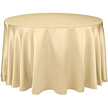 Charmant LinenTablecloth 108 Inch Round Satin Tablecloth Gold