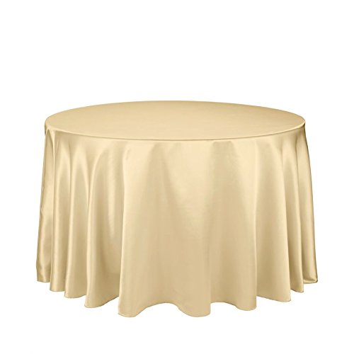 LinenTablecloth 108-Inch Round Satin Tablecloth (Gold Elegance Round Tablecloth)