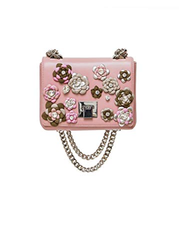 Pink Leather Bag for Woman: floral purse with Swarovski crystals that makes you shine (Midi, Pink)