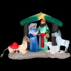 CHRISTMAS DECORATION LAWN YARD INFLATABLE LIGHTED NATIVITY SCENE 6'