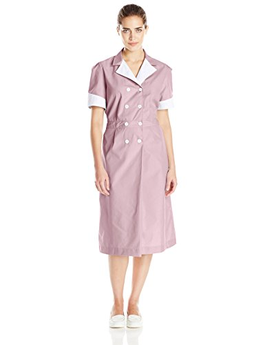 Diner Waitress Costume (Red Kap Women's Lapel Dress, Burgundy,)