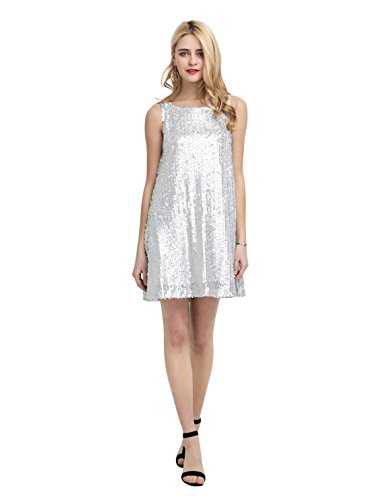 Disco Mini Dress (HAOYIHUI Women's Sparkly Metallic Sequin Sleevelss Tank Mini Dress(XL,Silver))