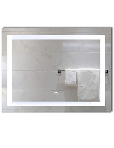 36x28 inch Dimmable LED Lighted Bathroom Wall Mounted Vanity Mirror | Dimmable - Best Lighted Bathroom Wall Mirrors