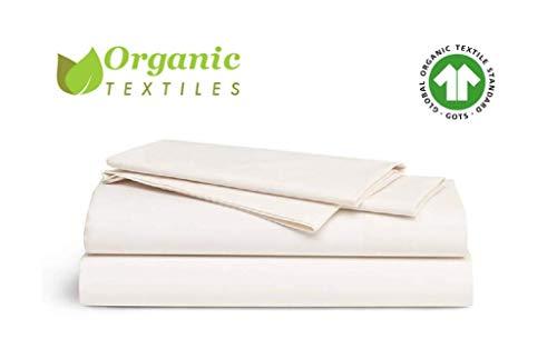- OrganicTextiles Bed Sheet Set 350 Thread Count Sheets Queen Size, Natural, 100% Organic Cotton [GOTS Certified]
