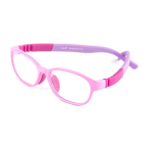 Cyxus Kids Blue Light Blocking Glasses ( Superior TR90 ) Shield Computer Eyewear-0.0 Magnification Gaming Eyeglasses for Children (Ages 5-8 Pink Frame)]()