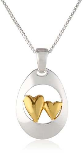 Two-Toned Sterling Silver with Yellow Gold Flashed Sisters Double Heart Pendant Necklace, 18""