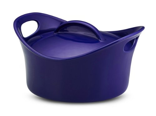Rachael Ray Stoneware 2-3/4-Quart Covered Bubble and Brown Casserround Casserole, Blue