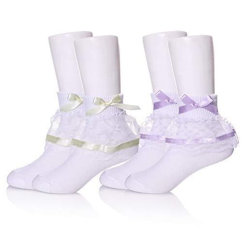 (YEBING Girls Ruffle Lack Socks 2 Pair Pretty Girls Princess Dress Socks with Lace and Ribbon (6-8 Year Old, 2 Pack Bow Purple & Yellow))