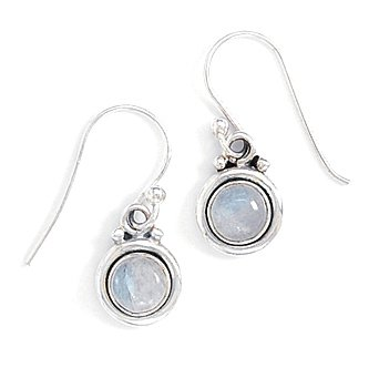 Round Simulated Moonstone Polished Edge Earrings Silvertone