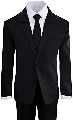 Boys Black Tuxedo Suit with Tie Young Boys Youth Size 8 ()