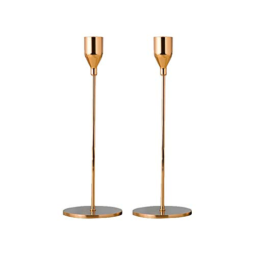 Gold Metal Pillar Candle Holders Table Candlesticks Lamp Base for Valentines Day Party Weeding Decor (S 24cm) (Table Base Candlestick Lamp)