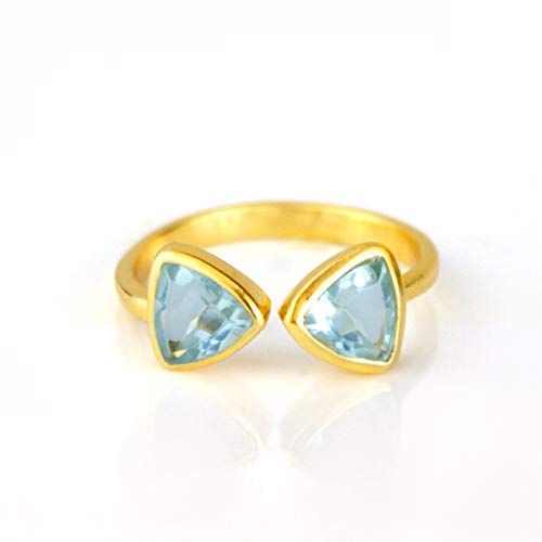 - DUAL December Birthstone Ring, Blue Quartz Adjustable Triangle Ring, 18K Vermeil Gold Ring [rTrB]