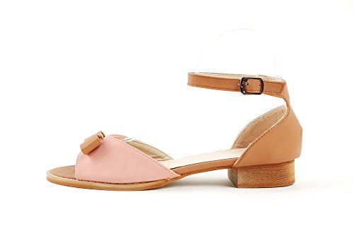 VogueZone009 Girls OpenToe Low Heel Chunky Heels PU Soft Material Solid Sandals with Bowknot Pink QepT6OHAe9