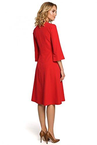 mit Clea Rot Ausschnitt Tränchen glockigen und am Ärmeln Kleid mit RUqUYwfa