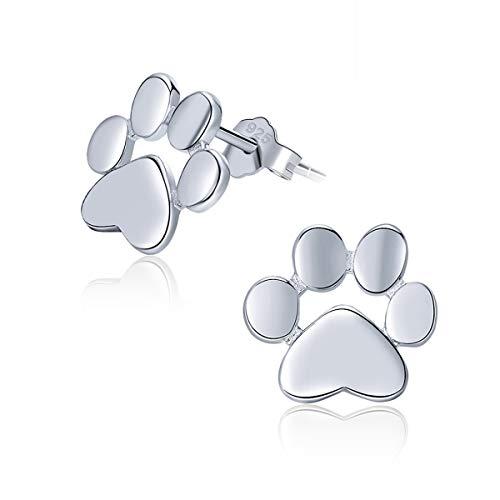 SIMPLOVE Pendientes de Huellas de Perro o Gato, Lindos Animales de Mascota Huella Pendientes Plata de ley 925, Regalo de…