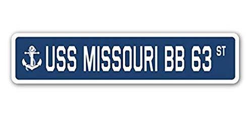 Hot Plates USS Missouri Bb 63 Street Sign Decal Sticker US Navy Veteran Military -