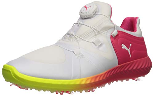 Puma Golf Women's Ignite Blaze Sport DISC Solstice Golf Shoe, Puma White-Nrgy Rose, 6 Medium US