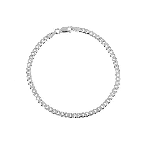 Men's 3.5mm Sterling Silver Curb Link Chain Bracelet Cuban Made in Italy 7.5 inch ()