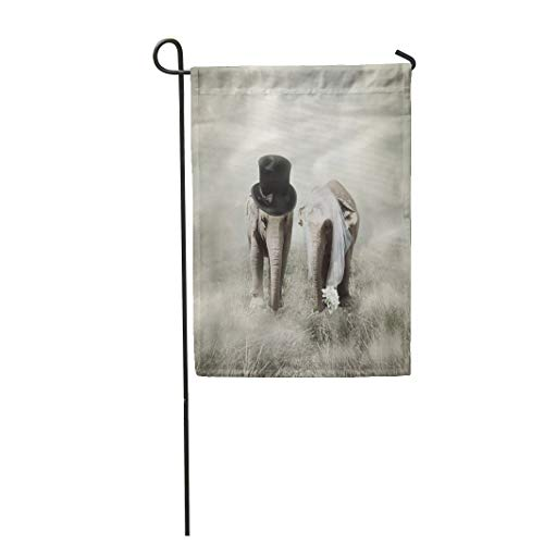 Semtomn Garden Flag 12x18 Inches Print On Two Side Polyester Surreal Elephants That Who are Getting Married in Twenties Style Wedding Couple Home Yard Farm Fade Resistant Outdoor House Decor Flag