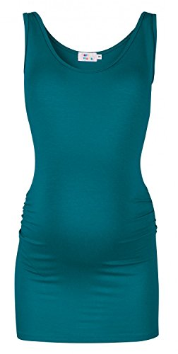 Happy Mama. Para Mujer Camiseta Top premamá. Cuello Redondo. Sin Mangas. 792p (Aguamarina, EU 36/38, M)