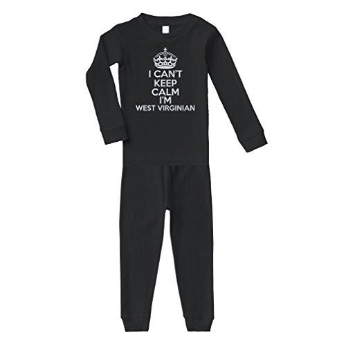 I Can't Keep Calm, I'm West Virginian WV Cotton Long Sleeve Crewneck Unisex Infant Sleepwear Pajama 2 Pcs Set Top and Pant - Black, 5/6T