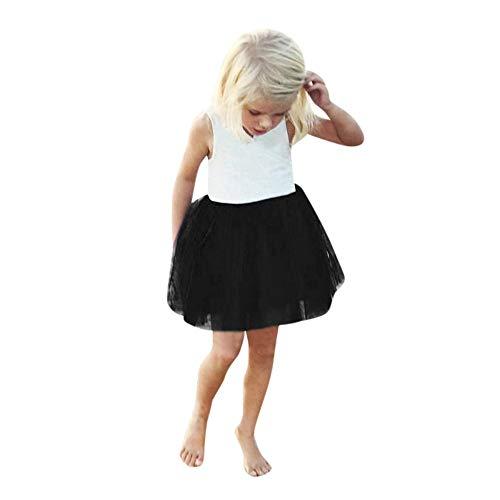 TEVEQ Kids Toddler Girls Solid Sleeveless Princess Dress Tutu Dress Clothes Outfits Black -