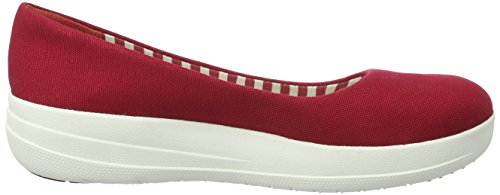 Fitflop Dames F-sportieve Ballerina Canvas Flat Rood (rood Ff)