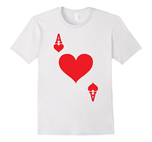 Playing Card Costume (Mens Ace of Hearts - Playing Card Halloween Costume T-Shirt 3XL White)