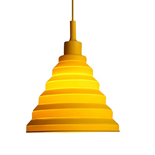 T.Y.S Lighting Colorful E27/E26 Silicone Ceiling Light Holder Pendant Light Fixture (Yellow)