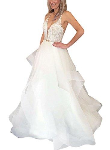 8fc7fa36b6e XJLY Princess Deep V-Neck Spaghetti Straps Sleeveless Backless Lace Wedding  Dresses