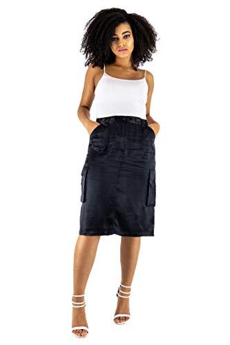 (Follo Clothing Women's 100% Pure Silk Pencil Skirt Knee Length Cargo Pockets)