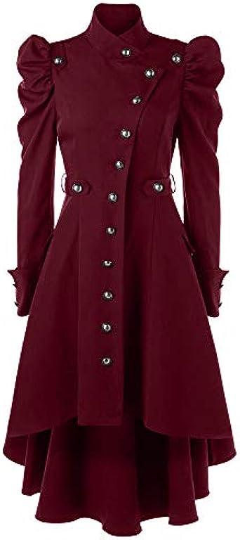Linlink Mujeres Vintage Steampunk Largo Abrigo gótico Abrigo Damas ...