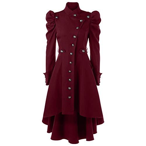 STORTO Womens Vintage Steampunk Long Coat,Plus Size Gothic Retro Button Jacket Red