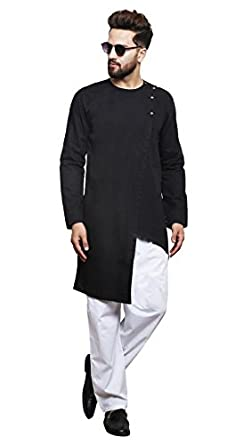 d9e4a109 Color Opera Kreation Men's Cotton New Style Solid Straight Kurta (Black,  Small)