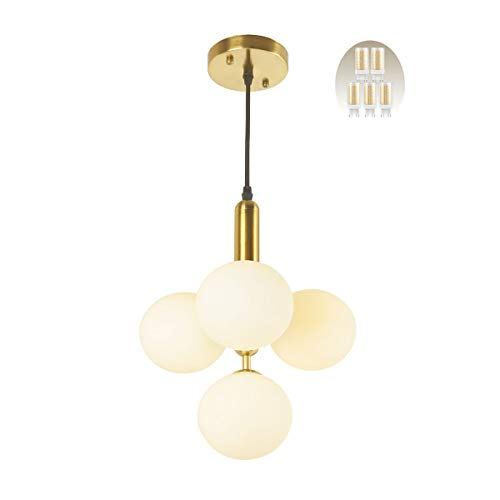 BAODEN 4 Lights Modern Globe Pendant Light Fixture Mid Century Chandelier with G9 Bulb Brushed Brass Finished with White…