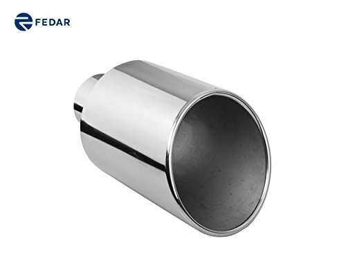 Fedar 4'' Inlet 8'' Outlet 15'' Long Rolled End Angle Cut Exhaust Tailpipe Tip (End Inlet Rolled 4')