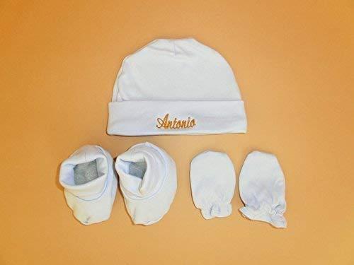 Conjunto de gorro, manoplas y patucos de algodón para recién nacido. El gorro va personalizado con el nombre del bebe. Elige el color del bordado. ...